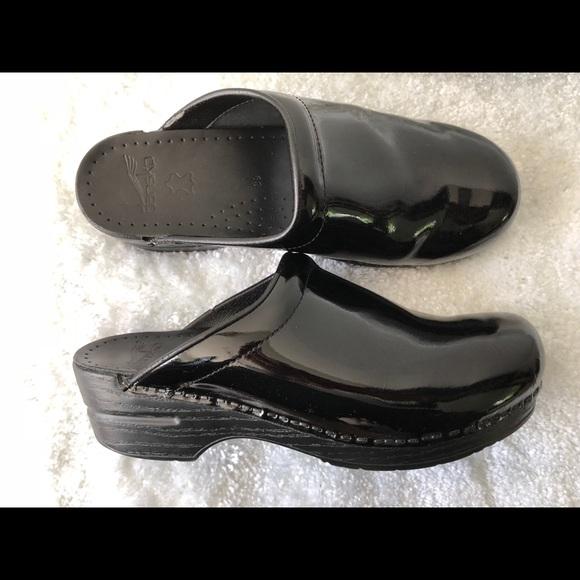 f7f4af07ea50 Dansko Shoes - DANSKO Black Patent Leather Open Back Clogs 39